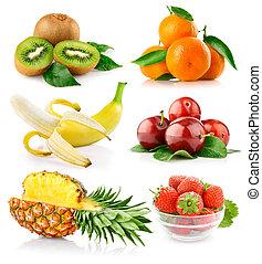 fresco, folhas, jogo, verde, frutas