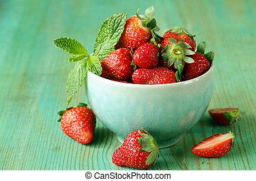 fresco, fresas, maduro, dulce