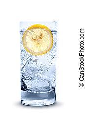 fresco, fresco, annaffi ghiaccio, e, limone