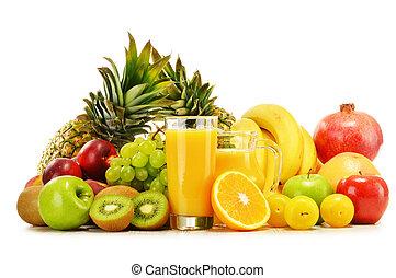 fresco, fruits., equilibrado, variedade, dieta, composição