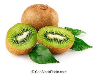 fresco, fruta del kiwi, con, hojas verdes