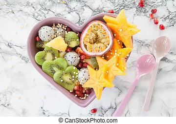 fresco, fruta exótica, salada