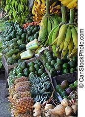 fresco, fruta, exposição
