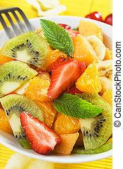 fresco, fruta, salada