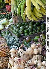 fresco, fruta, tenda, mercado