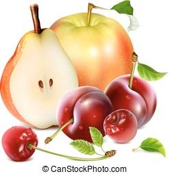 fresco, frutas, jardín, maduro