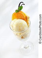 fresco, gostosa, gelo, laranjas, creme