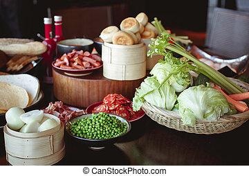 fresco, gostoso, alimento, ligado, tabela