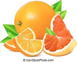 fresco, grapefruits., maturo, arance