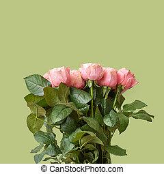 fresco, hermoso, ramo, de, rosas rosa, en, un, fondo verde