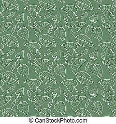 fresco, hojas, seamless, patrón, en, vector., follaje colorido, interminable, fondo.