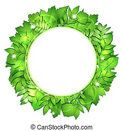 fresco, hojas, vector, verde, border.