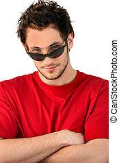 fresco, homem, óculos sol cansativo