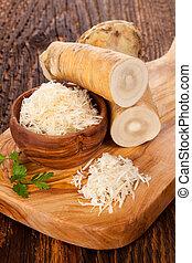 fresco, horseradish, ligado, tabela madeira