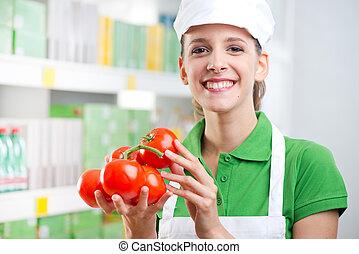 fresco, impiegato, vendite, pomodori