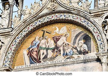 fresco in church, photo as a background