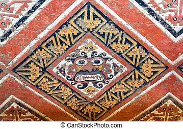 Details of an ancient fresco in Huaca de la Luna in Trujillo, Peru