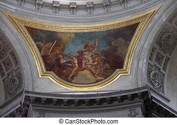 Fresco in the Cathedral of Saint-Louis des Invalides, Paris, France