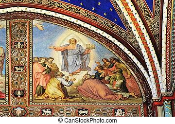 Fresco in the Saint Germain des Pres Church, Paris, France