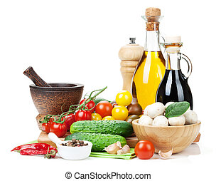 fresco, ingredientes, para, cooking:, tomate, pepino,...