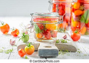 fresco, ingredientes, para, enlatado, tomates vermelhos, em, verão