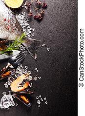 fresco, ingredientes, para, um, marisco, refeição
