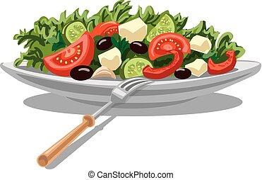 fresco, insalata, greco