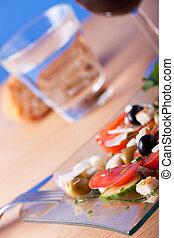 fresco, insalata, su, uno, piastra bicchiere