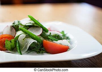 fresco, insalata, su, uno, piastra
