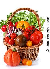 fresco, jardín, vegetables.