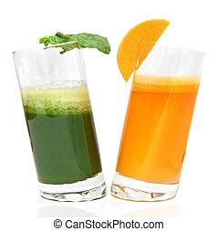 fresco, jugos, de, zanahoria, y, perejil, en, anteojos,...
