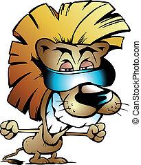 fresco, león, rey