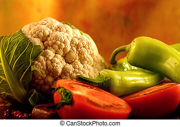 fresco, legumes, coloridos