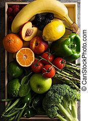fresco, legumes, coloridos, frutas