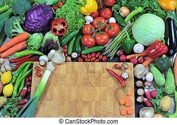 fresco, legumes, corte, tábua, coloridos
