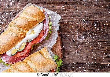fresco, legumes, linguiça, sanduíche