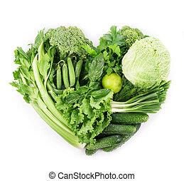 fresco, legumes verdes, isolado, branco