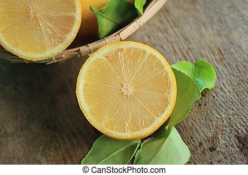 fresco, limão, com, folhas