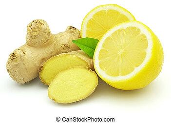 fresco, limão, com, gengibre