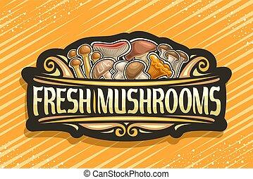 fresco, logotipo, vetorial, cogumelos