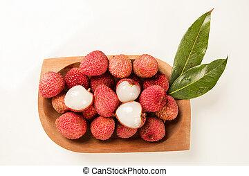 fresco, lychees, bianco, fondo.