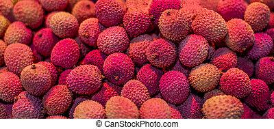 fresco, lychees, fondo., lychee, frutta, struttura