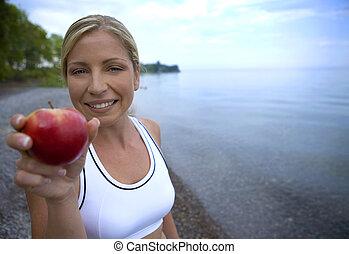 fresco, maçã, e, condicão física
