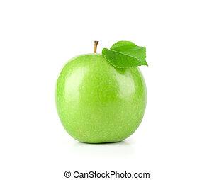 fresco, maçã verde, fruta, com, folha