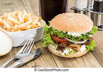 fresco, madera, kebab, hamburguesa