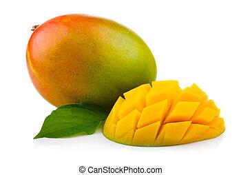 fresco, mango, fruta, con, corte, y, verde, leafs, aislado