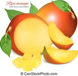 fresco, mango, leaves., maturo, fette