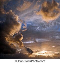 fresco, manhã, nuvens, sol