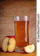 fresco, manzana, jugo