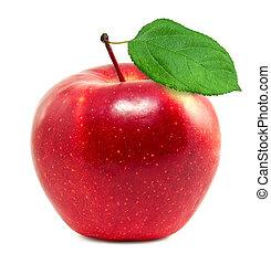 fresco, manzana, rojo